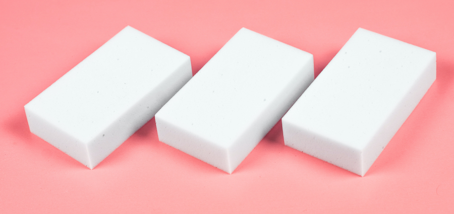 White sponge cleaning erasers